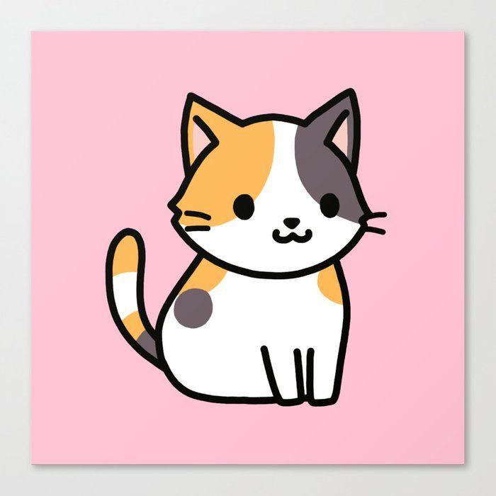 Calico Cat Canvas Print By Littlemandyart Medium Kitten Drawing Simple Cat Drawing Cute Animal Drawings