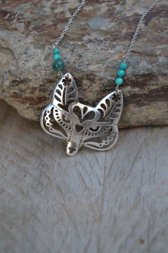 Silver fox necklace turquoise and jade, animal jewelry, fox necklace silver spirit animal totem fox jewelry turquoise fox necklace
