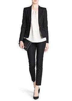 BASICS: casaco fato preto MANGO - ROUPA - Casacos - Blazer algodão: