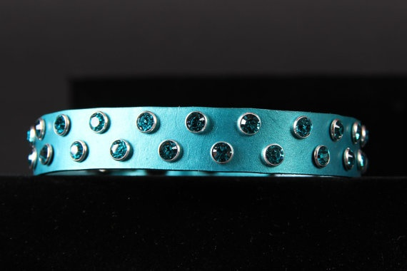 Jade Pearl Leather Dog Collar with Swarovski by JustForBella, $73.00