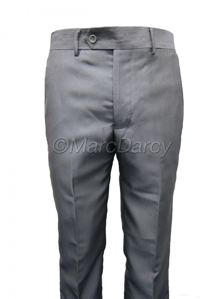 Mens Two tone Shiny Silver Grey Plain Front Regular Fit Trousers