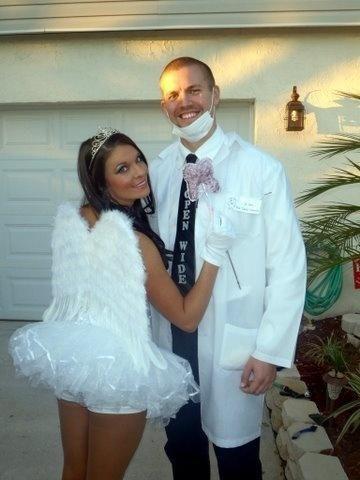 Couple halloween costume wearing pantyhose dirty