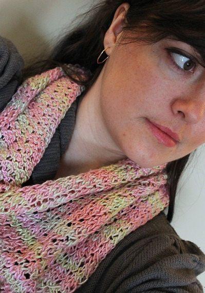 Knit cowl, hand knit, silk , Hand spun yarn, fasion cowl, pink, green, silk yarn