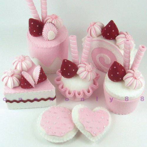 FELT CAKE SET Burgundy and Pink Tea Party Dessert by onenonly88 on we heart it / visual bookmark #14726143 on imgfave