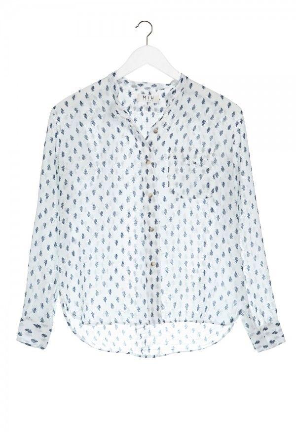 The Hockney Shirt - COLLARLESS, BUTTON THROUGH SHIRT - Blue de Lys - MiH