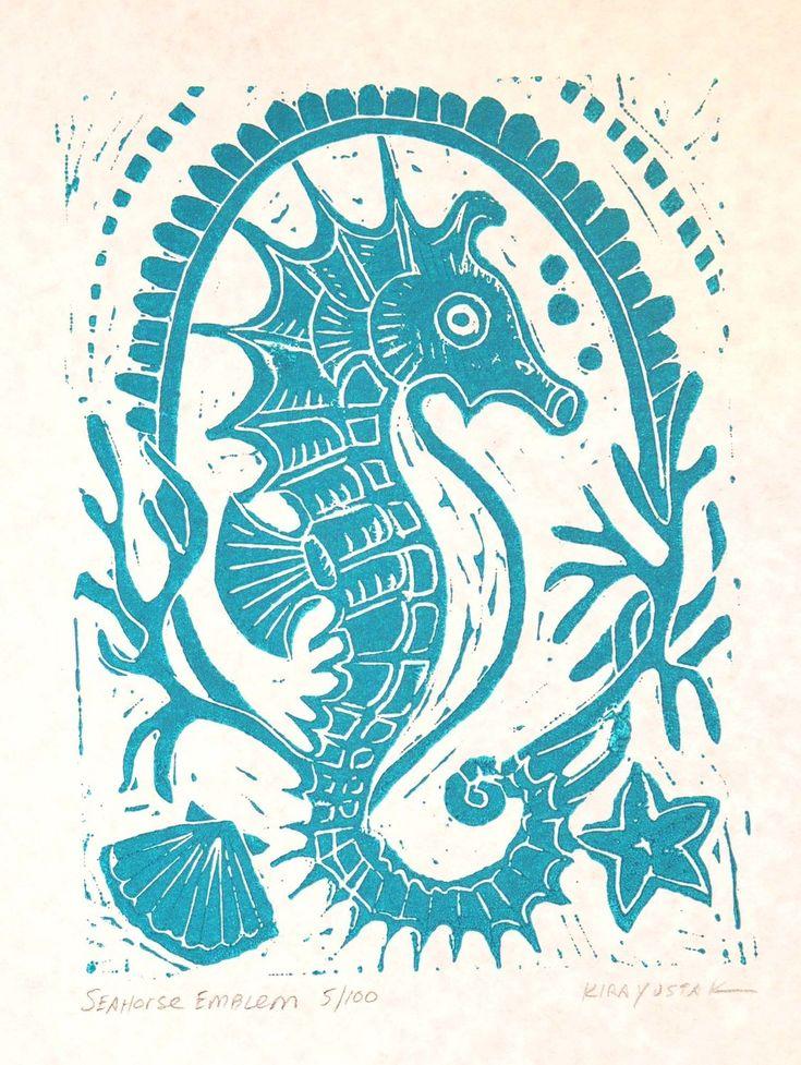 Seahorse Emblem Block Print by kirayustak on Etsy