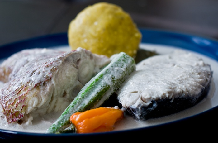 Traditional dishes from Belize: Hudutu Baruru and Falumou - plantains, coconut milk, red snapper, and okra.  Cooked Earth Blog is brilliant and would make a foodie sing a song of praise!