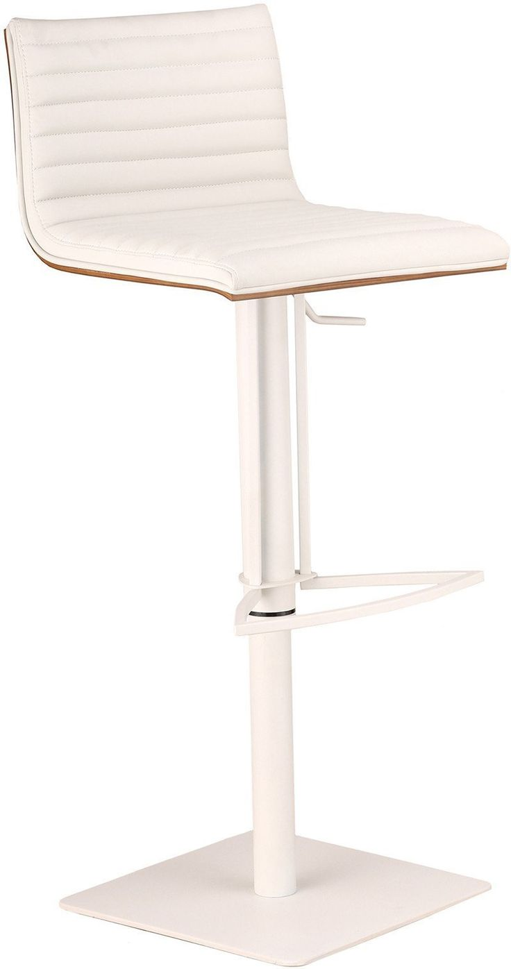 Armen Living LCCASWBAWHBA Caf Adjustable White Metal Barstool in White Pu with Walnut Back