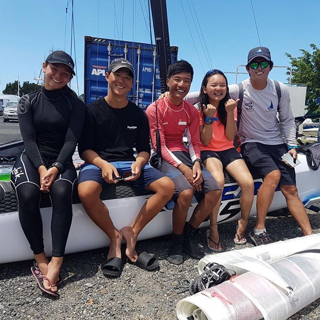Singapore finished as the top Asian nation at the 2018 Australian Youth Championships in the #Nacra15 to qualify for the Youth Olympic Games (YOG) which will be held in Buenos Aires from 6-18 October 2018. Chia Teck Pin @pinteck and Sophia Rose Meyers @sophia_rose_meyers finished 11th in front of compatriots Raynn Kwok @raynen_kwok and Vicke Young Yun Xuan @vickeyoung_  who was 12th but more importantly ahead of Chinas Ying Dong and Jie Zhou who finished 13th.  Congrats and well done team…