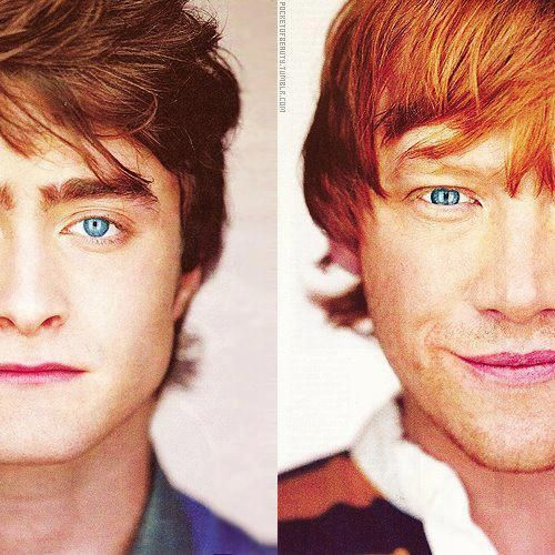 Daniel Radcliffe & Rupert Grint I don't care what anybody says about the guy who plays Neville (not impressed with the character either) cuz these two are hot!