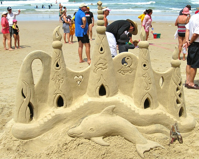 There was a sand castle competition one day in Yamba. It was mostly for the kids but this one was done by the guy running it. It was fun to see the families out on the beach.