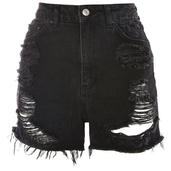 TopShop Tall Rip Longline Mom Shorts ($60) ❤ liked on Polyvore featuring shorts, distressed shorts, high waisted shorts, jean shorts, cotton shorts and distressed denim shorts