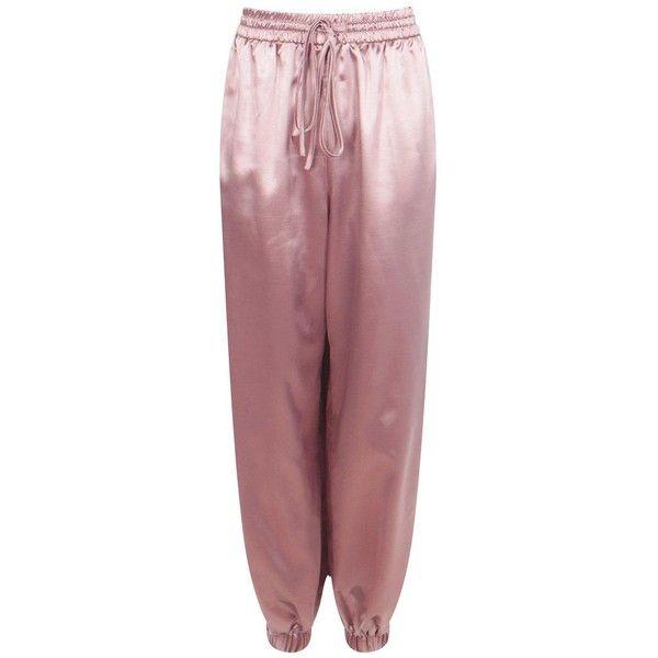 Boohoo Orianna Split Leg Satin Hareem Trousers | Boohoo (98 PEN) ❤ liked on Polyvore featuring pants, satin pants, stretch waist pants, elastic waistband pants, satin trousers and flat-front pants