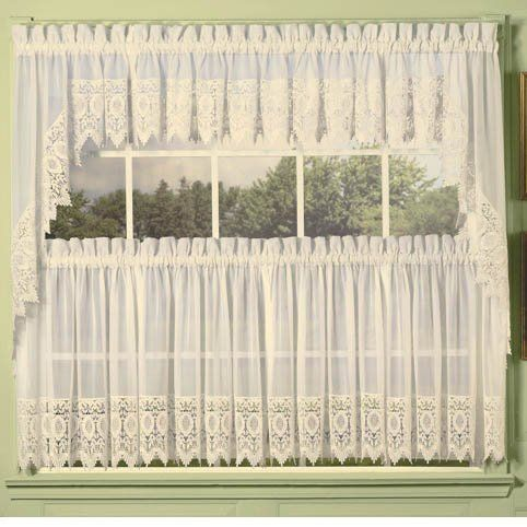 Ivory Diana Lace Trim Kitchen Tier Curtain By Unknown 24