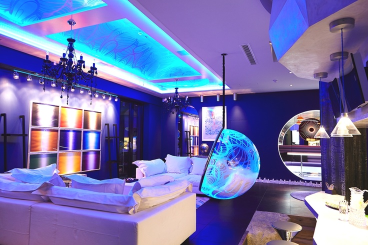 This 3,000 square foot leisure area, in the basement of a 10,000 square feet London home, has been custom-designed by lighting interior designer Ben Rousseau for a client who is an enthusiast of urban and contemporary art. The homeowner ironically calls it his 'batcave' and uses the space to relax, party and play games. #rodeoand5th #design #decor #homes #luxury #london