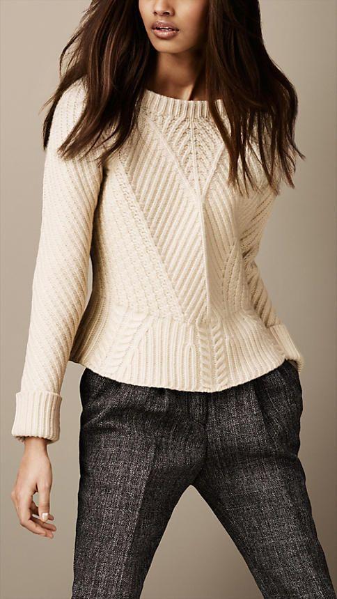 Burberry Brit - Merino Wool Peplum Sweater