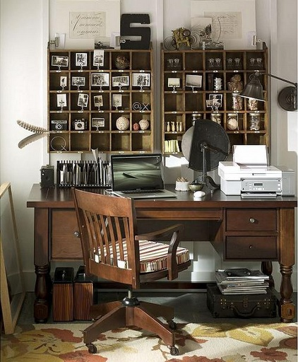Great office and craft corner setup... the cubbyholes are perfect for holding spools of jewelry chain.
