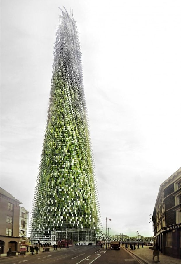 a highrise concept for London which uses the rubbish occupants generate in living there to complete the 'green' façade...