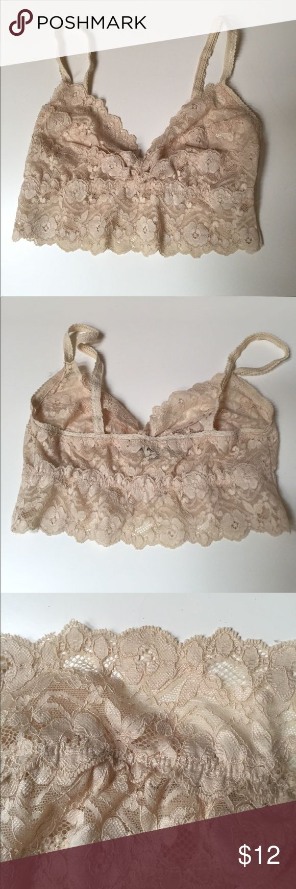 NEW LISTING!  Nude Bralette  Bundles 2+ for 20%!   Cute, comfortable, all over lace bralette in nude color. I would wear it under muscle tees or slightly transparent tanks for added modesty. Happy to answer any questions! Foreign Exchange Intimates & Sleepwear