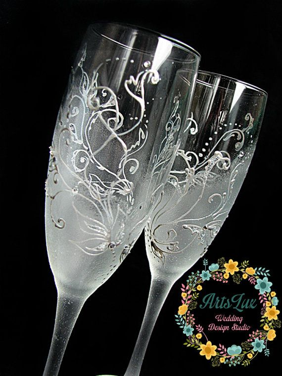 Frosty Wedding champagne Glasses hand painted Wedding by ArtsLux