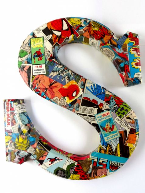 Comic Book Wooden Letter for kids room. But like another pinner says - who says this has to be just for a kids room? I say this can be done in the kitchen with things pertaining to cooking. A music room, etc....