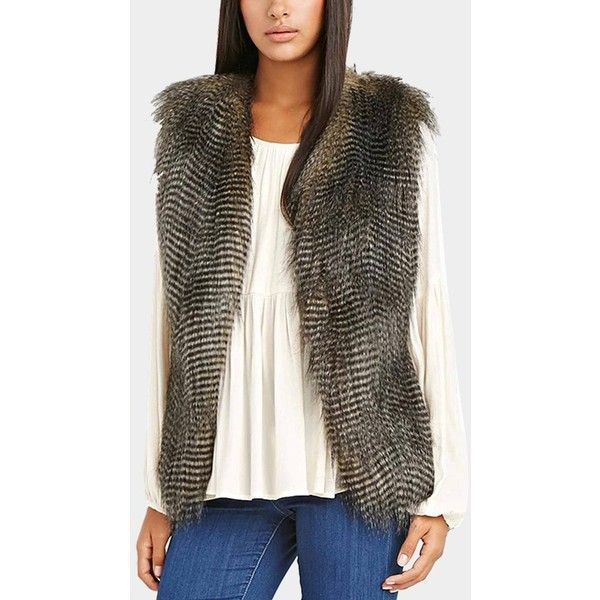Yoins Side-Paneled Fur Gilet in Black ($31) ❤ liked on Polyvore featuring outerwear, vests, black, faux fur waistcoat, fur waistcoat, faux fur vests, sleeveless fur vest and fur vests