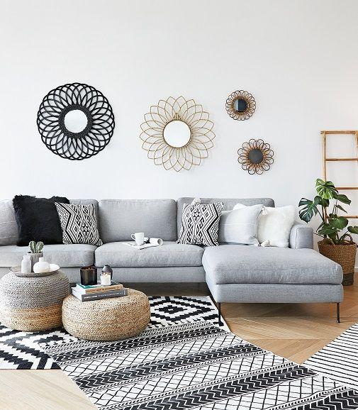 schwarzes sofa dekorieren excellent nina mit einem samt sofa in petrol marmortisch und einem. Black Bedroom Furniture Sets. Home Design Ideas