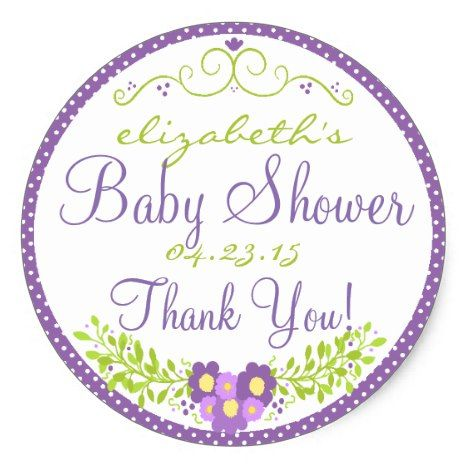 Laurel-Lavender Baby Shower Classic Round Sticker Everyone loves stickers both children and adults. How about stickers that can be personalized? Cool concept. #printable #stickers #etsy
