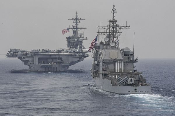 The Carl Vinson Carrier Strike Group operates with the Ronald Reagan Carrier Strike Group and the Japan Maritime Self-Defense Force ships (JS) Hyuga (DDH 181) and JS Ashigara (DDG 178) in the western Pacific region.