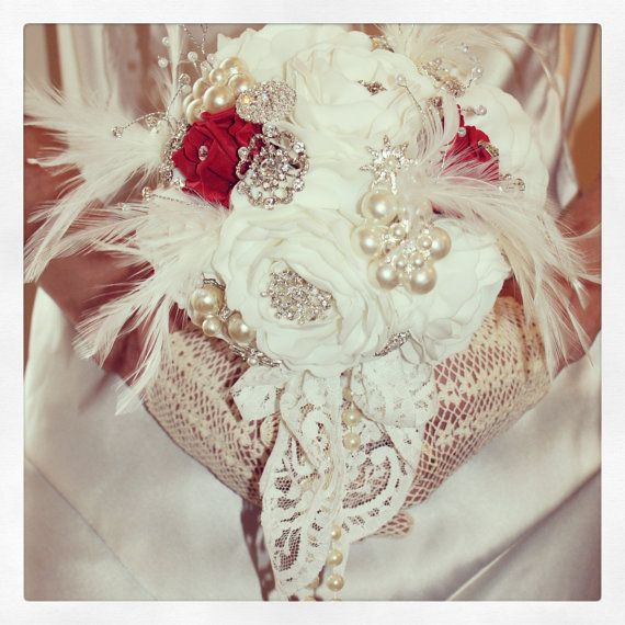 Brooch Bouquet  Jeweled Bouquet  Feather by savingfacejewellery, £215.00