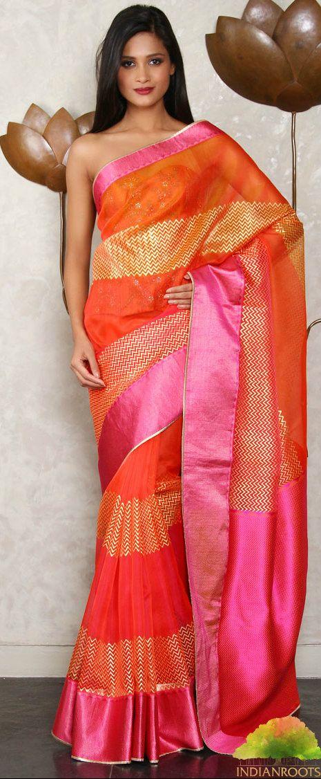 Fuchsia Chevron Block Printed Chanderi saree by Rohit Bal at Indianroots.com