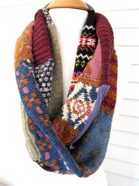 Upcycled infinity SCARF, patchwork, repurposed cotton and wool sweater knits, multi folk design