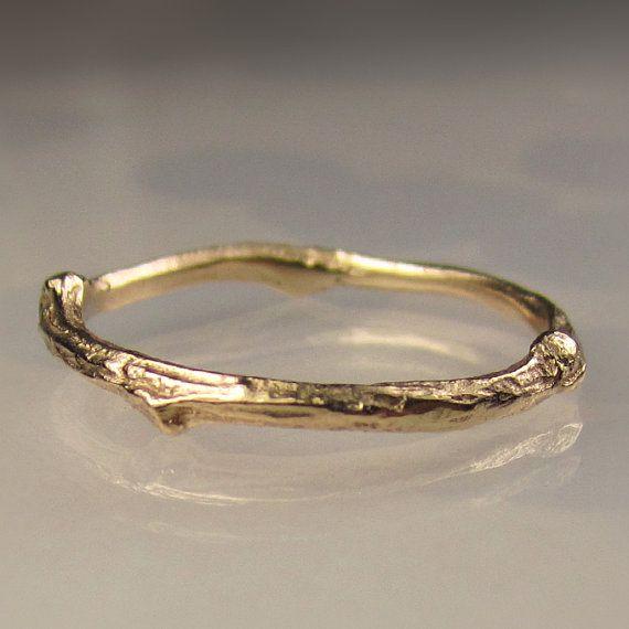 14k Gold Twig Band Gold Wedding Band by JanishJewels on Etsy, $219.00