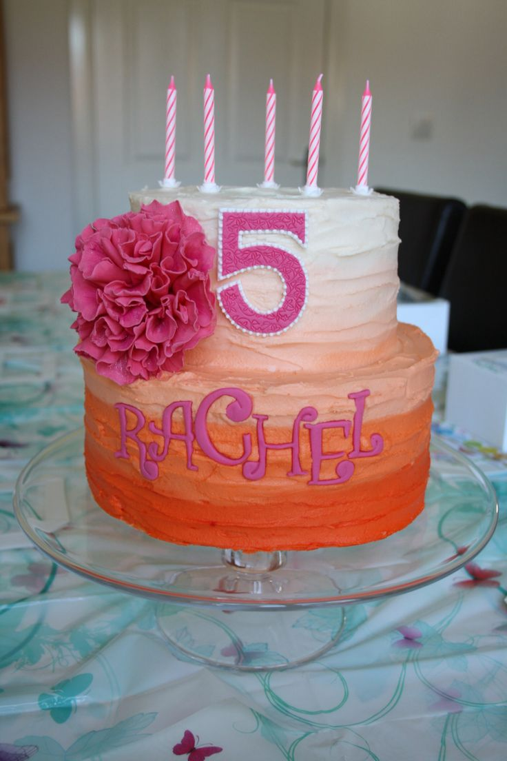 Rachel's 5th birthday cake (OK that was obvious). Orange and pink ombre cake, with my first attempt at a peony. Tried really hard to do a mega quick one. Very pleased at achieving 10 hours (not including baking time). No board to decorate and no sugarpaste or intricate decoration, just a rather enormous amount of buttercream. Yum!