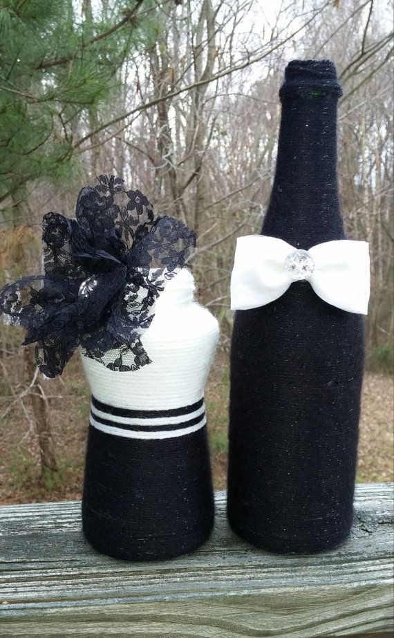 Black Yarn Bottle w/ White Bow Tie by SiminaBanana on Etsy