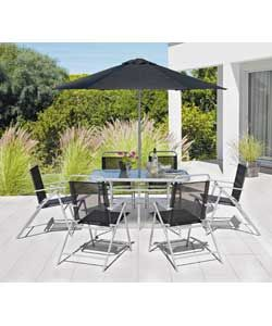 Pacific 6 Seater Patio Furniture Set - Silver.