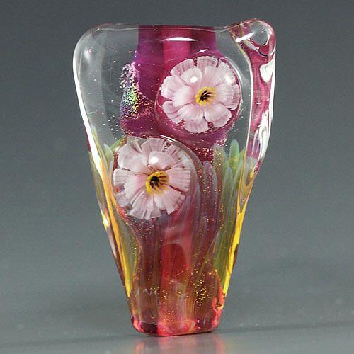 handmade lampwork murrini flower silver glass focal bead sra