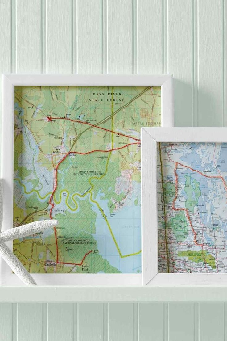 Hand-stitch your trip on a map and frame
