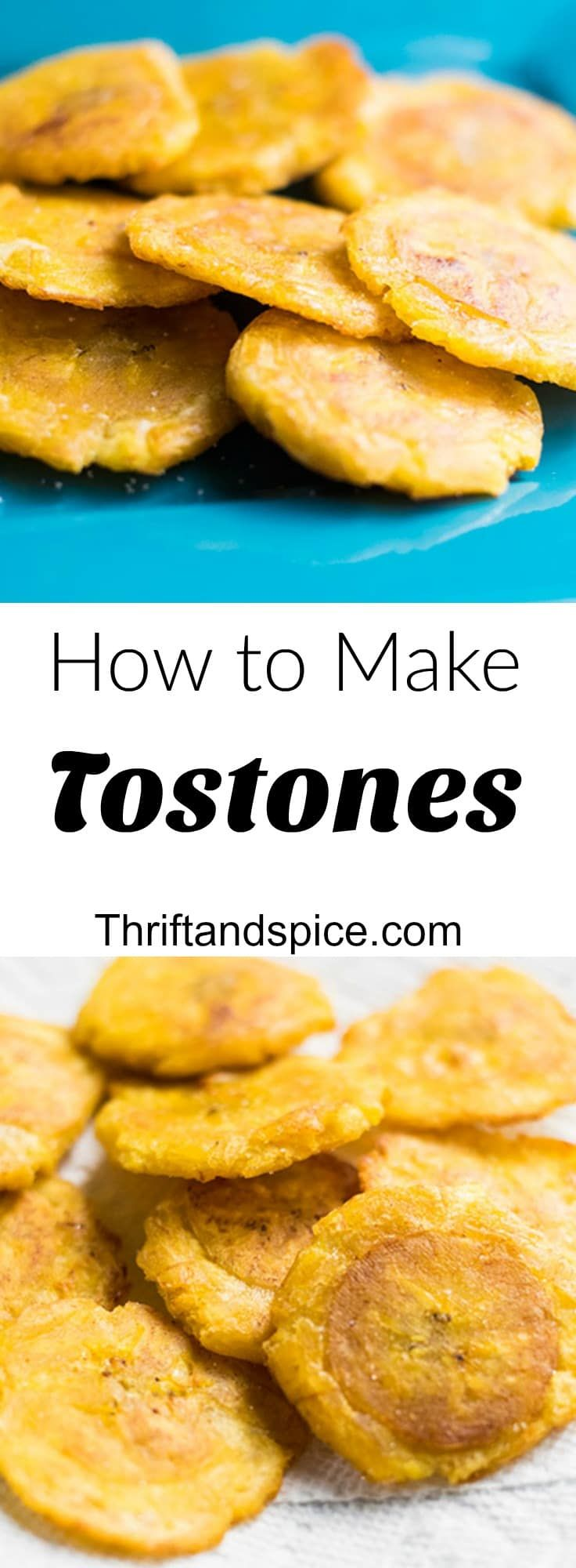 Tostones are a popular dish through out Latin American countries. Tostones are plantain slices that are twice fried so that they become crisp on the outside and soft on the inside.