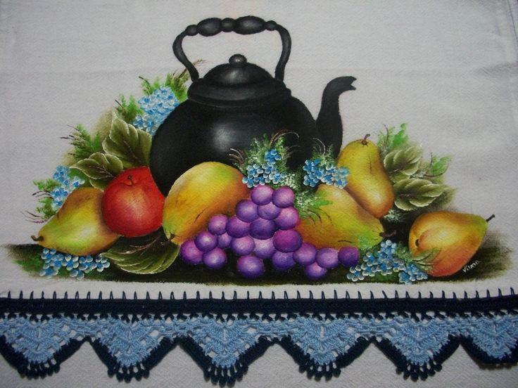 pintura em tecido chaleira - Pesquisa Google