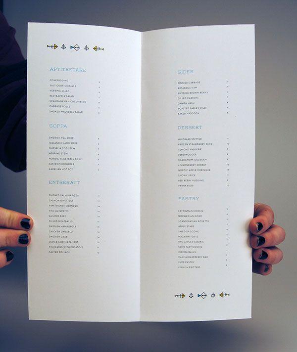 menu and ad design for fictional nordic restaurant fda - Restaurant Menu Design Ideas