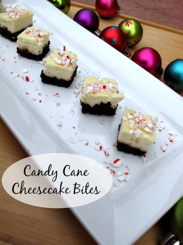 Cheesecake Bites - candy cane Oreo crust with peppermint cheesecake ...