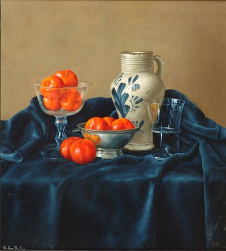 Barbara Vanhove - Tangerines with Glasses and Pottery