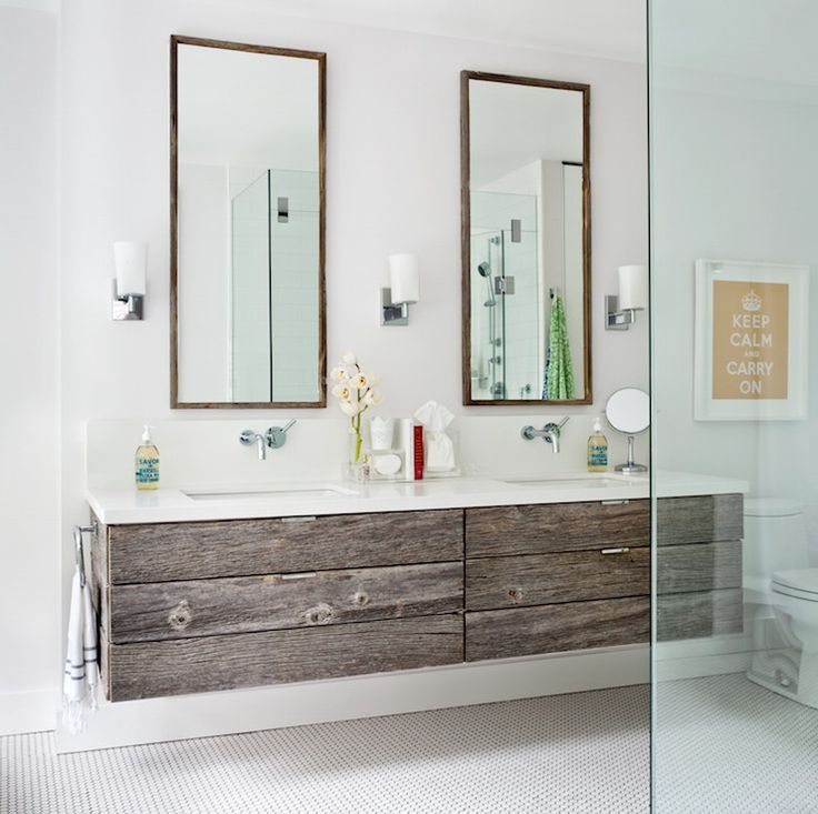 bathroom with reclaimed wood vanity                                                                                                                                                                                 More