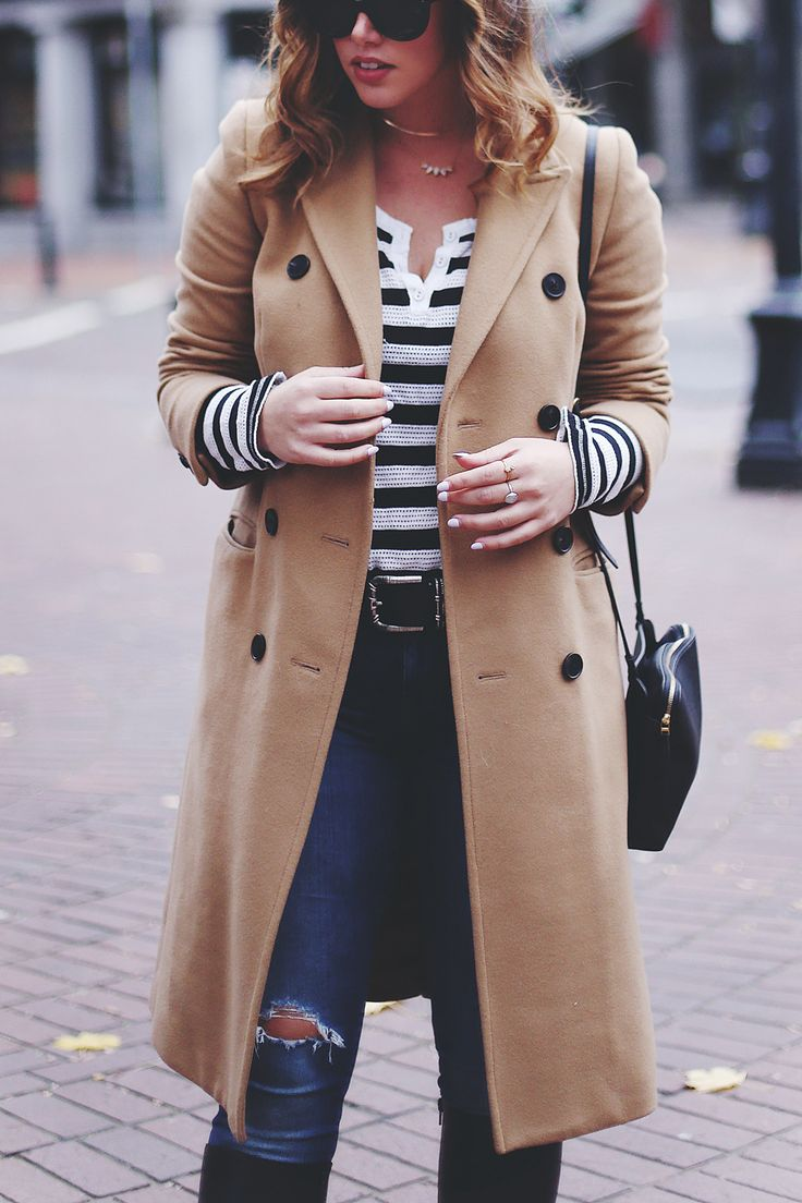Camel coat, striped top, ripped skinny jeans, black boots. #style #stripes #fashion #classic