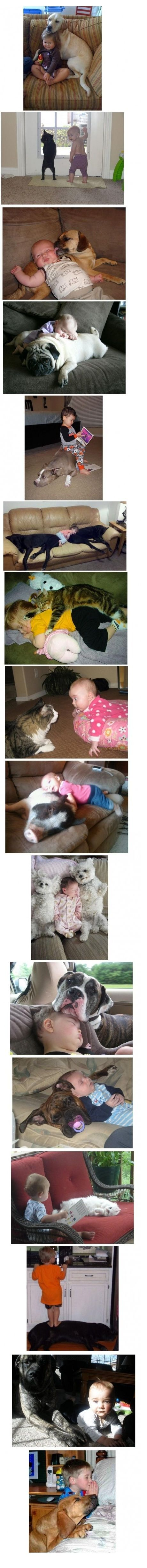 real babies and fur babies...I don't know who's cuter