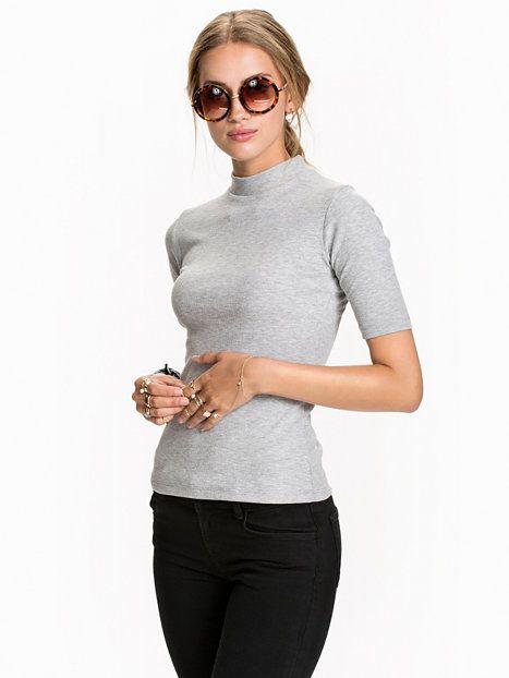 $17 Rib Turtleneck Top - Nly Trend - Light Grey Melange - Tops - Clothing - Women - Nelly.com