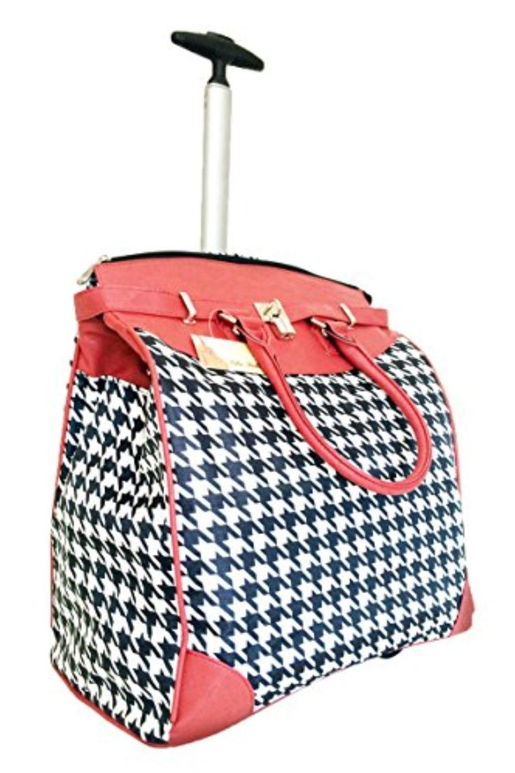 Trendy Flyer Computer/Laptop Rolling Bag 2 Wheel Case Houndstooth Red - Brought to you by Avarsha.com