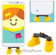 DECORAZIONE SUPPORTO TAVOLO STAND PIEDINI IDEA REGALO UNIVERSALE MICROUSB PORT I-SHOES GIALLO YELLOW - SU WWW.MAXYSHOPPOWER.COM