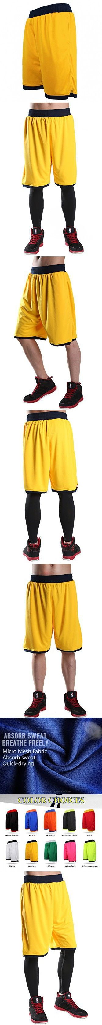 "JEASS Basketball Shorts for Men Workout Shorts with Pockets Mesh Lining Large Yellow ""Large(Waist 34""- 36"")"""
